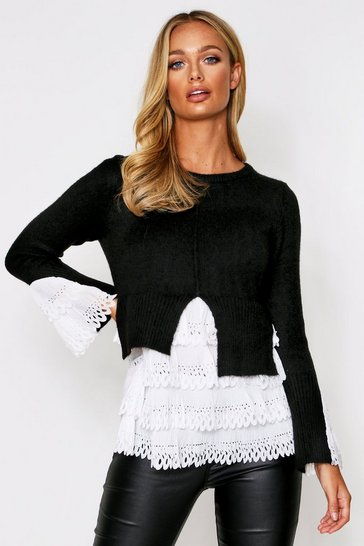 Womens Black Woven Frill Detail Knitted Jumper
