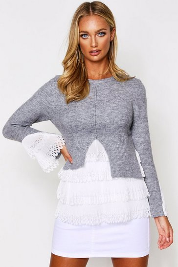Womens Grey Woven Frill Detail Knitted Jumper