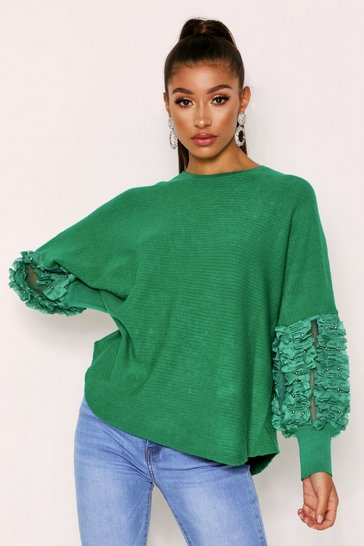 Womens Green Tulle Beaded Knitted Jumper