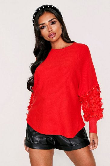 Womens Red Tulle Beaded Knitted Jumper