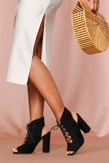 Black Lace Up Front Peeptoe Shoe Boot