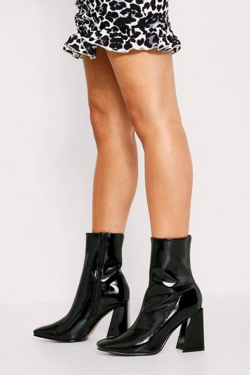 Womens Black Patent Flared Block Heel Sock Boot
