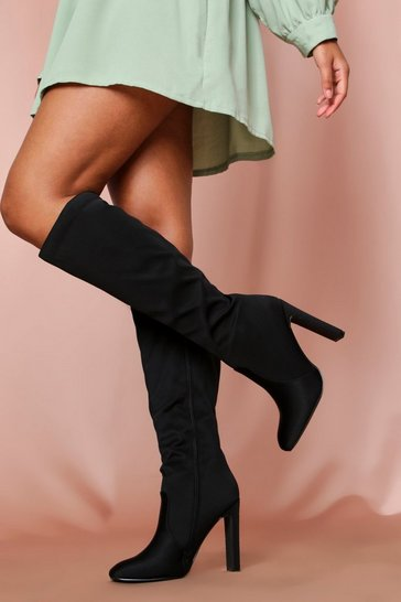 Black Suedette Flat Heel Knee High Boot