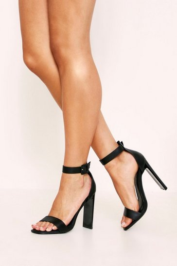 Black Suedette Flat 2 Part Heels