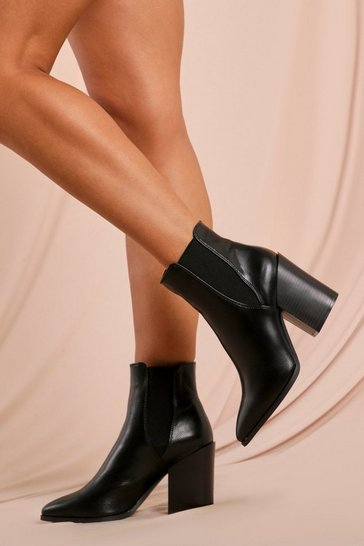 Womens Black Block heeled Chelsea Boot