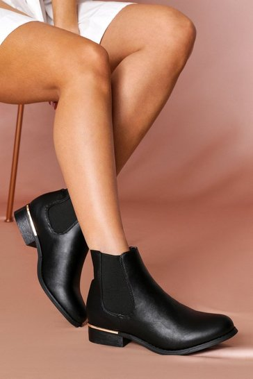 Black Metallic trim chelsea boot