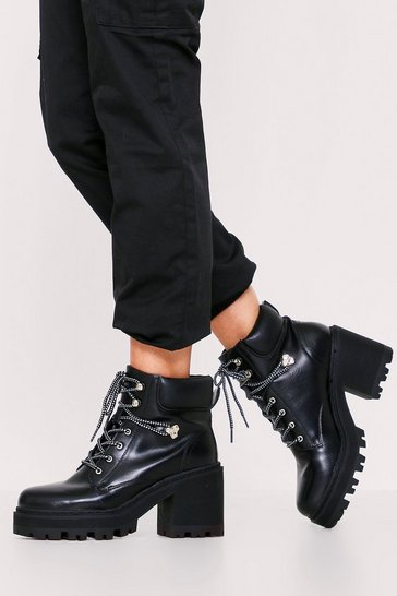 Womens Chunky black heel lace up Hiker Boot