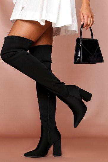 Pointed Toe Block Thigh High Boot