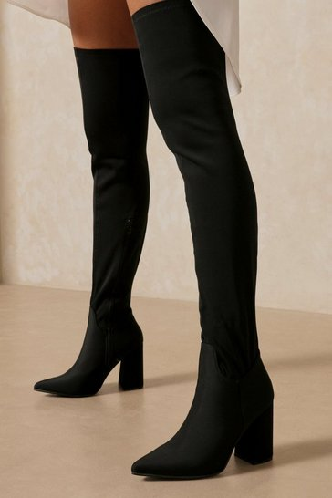 Womens Black Strech Pointed Toe Block Thigh High Boot