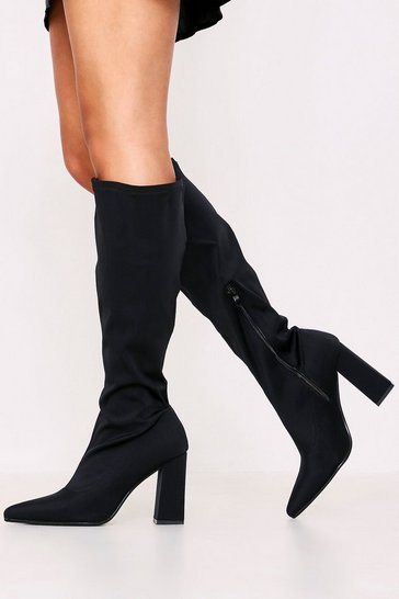 Womens Black Pointed Toe Block Knee High Boot