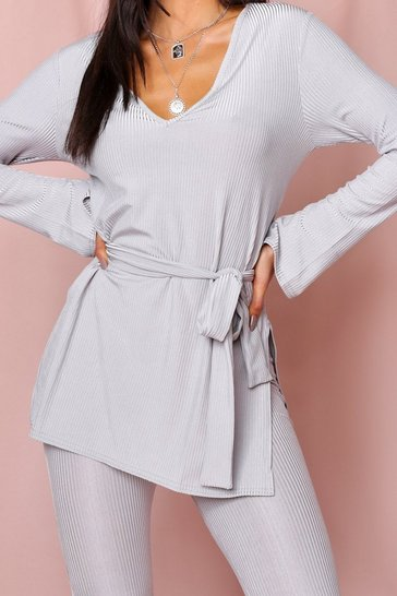 Grey Ribbed Tie Waist Lounge Set