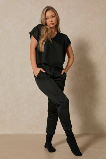 Black  V Neck Loungewear Set