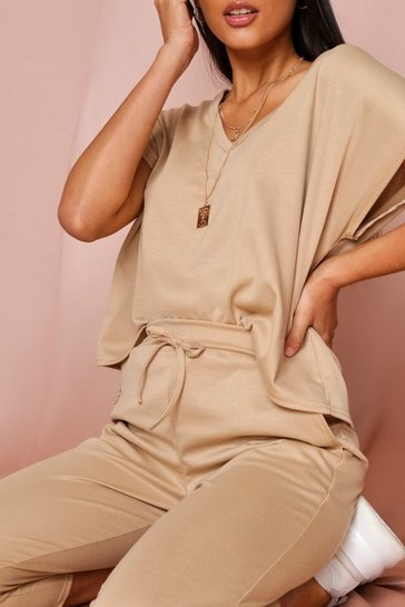 Camel  V Neck Loungewear Set