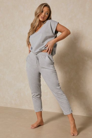 Grey V Neck Loungewear Set