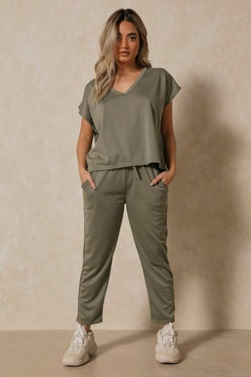 Womens Khaki  V Neck Loungewear Set