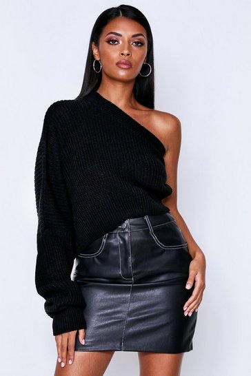 Womens Black Off The Shoulder Ribbed Knitted Jumper