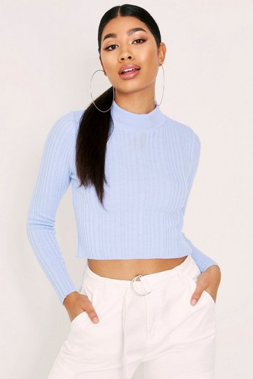 Womens Blue Ribbed Slim Fit High Neck Jumper