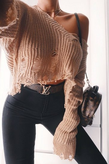 Womens Camel Distressed V Neck Jumper