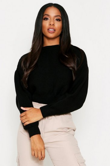 Womens Black Crew Neck Ribbed Jumper