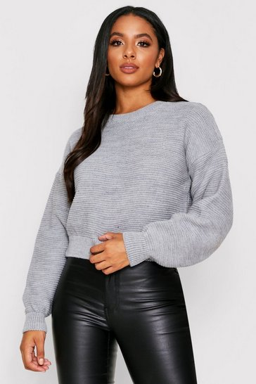 Grey Knitted Rib Crew Neck Crop Jumper