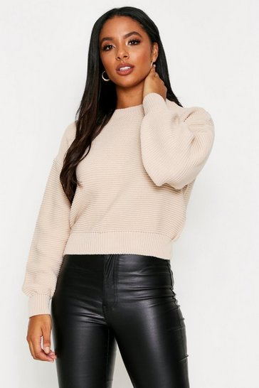 Womens Stone Crew Neck Ribbed Jumper