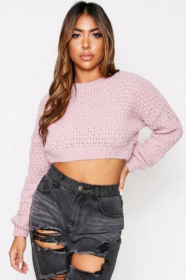 Womens Nude Chunky Knit Crop Jumper