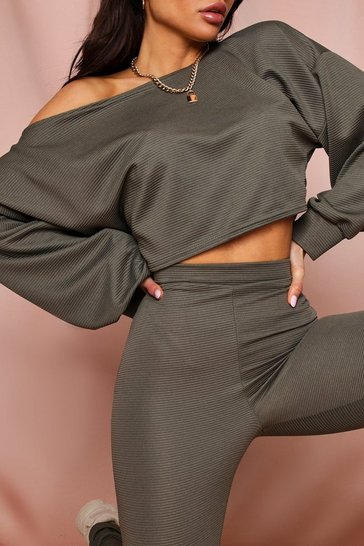 Khaki Cropped Off The Shoulder Ribbed Lounge Set