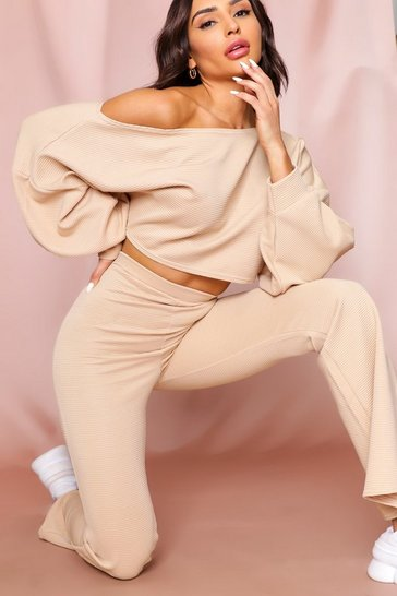 Sand Cropped Off The Shoulder Ribbed Lounge Set