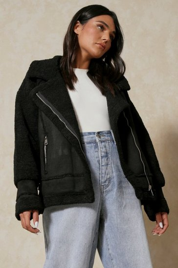 Womens Black Oversized Aviator Jacket