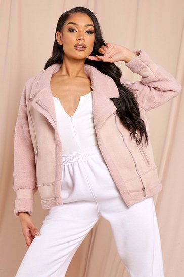 Womens Blush Oversized Aviator Jacket