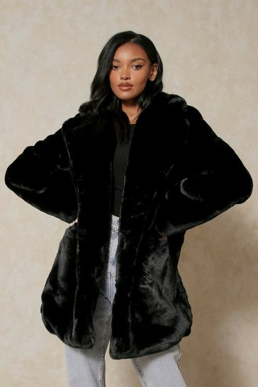 Black Oversized Faux Fur Coat