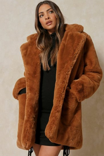 Camel Oversized Faux Fur Coat