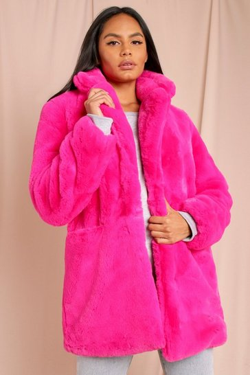 Fuchsia Oversized Faux Fur Coat