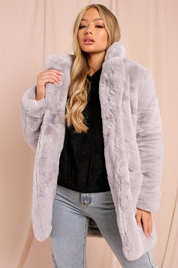 Womens Grey Oversized Faux Fur