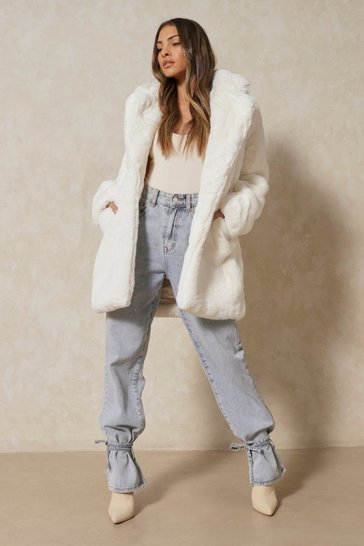 Womens Ivory Oversized Faux Fur