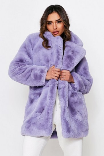 Womens Lilac Oversized Faux Fur
