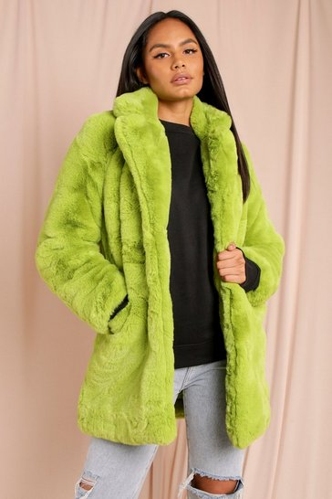 Lime Oversized Faux Fur Coat
