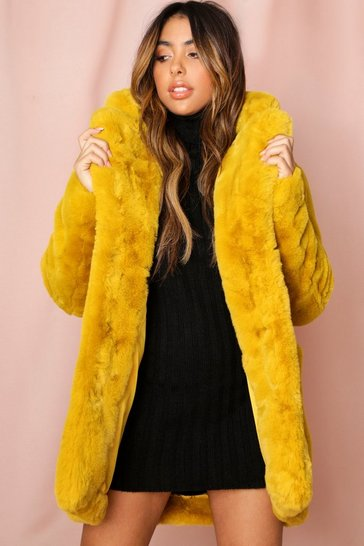 Womens Mustard Oversized Faux Fur