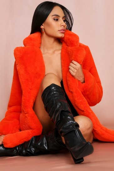 Womens Orange Oversized Faux Fur