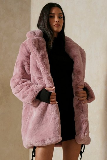 Pink Oversized Faux Fur Coat