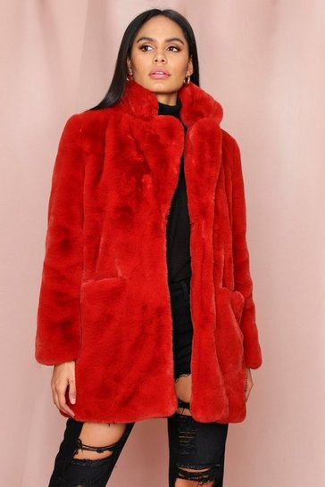 Womens Red Oversized Faux Fur
