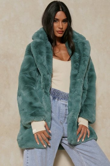Sage Oversized Faux Fur Coat