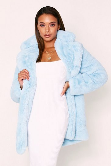 Womens Sky Oversized Faux Fur