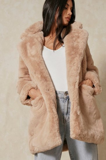 Stone Oversized Faux Fur Coat