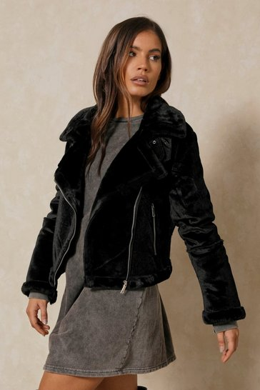 Womens Black Oversized Aviator Faux Fur Shearling Coat