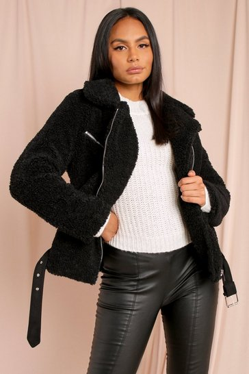 Womens Black Teddy Aviator Coat
