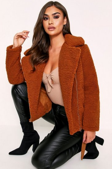 Womens Ginger Teddy Aviator Coat