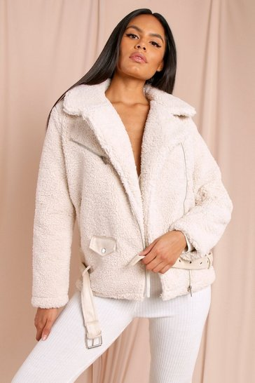 Womens Ivory Teddy Aviator Coat