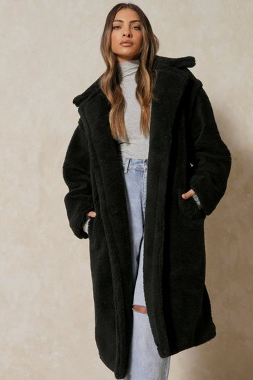 Womens Black Oversized Teddy Coat
