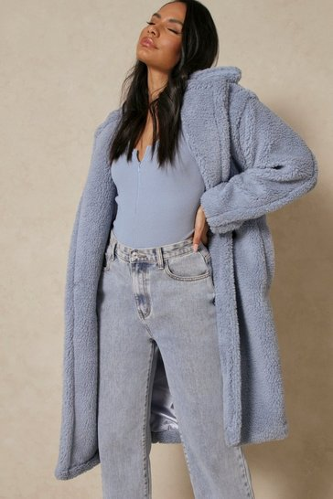 Blue Oversized Teddy Coat